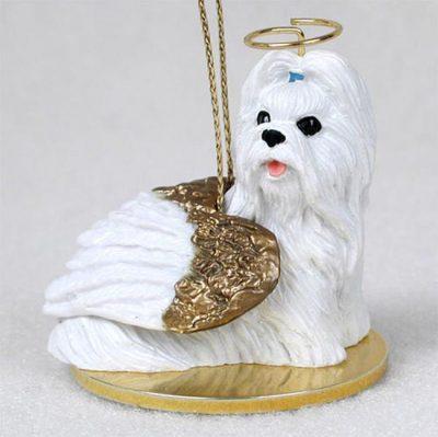 Shih-Tzu-Dog-Figurine-Angel-Statue-Hand-Painted-White-180637637435