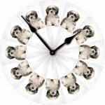 Shih-Tzu-Dog-Wall-Clock-10-Round-Wood-Made-in-USA-Puppy-Cut-181405040399