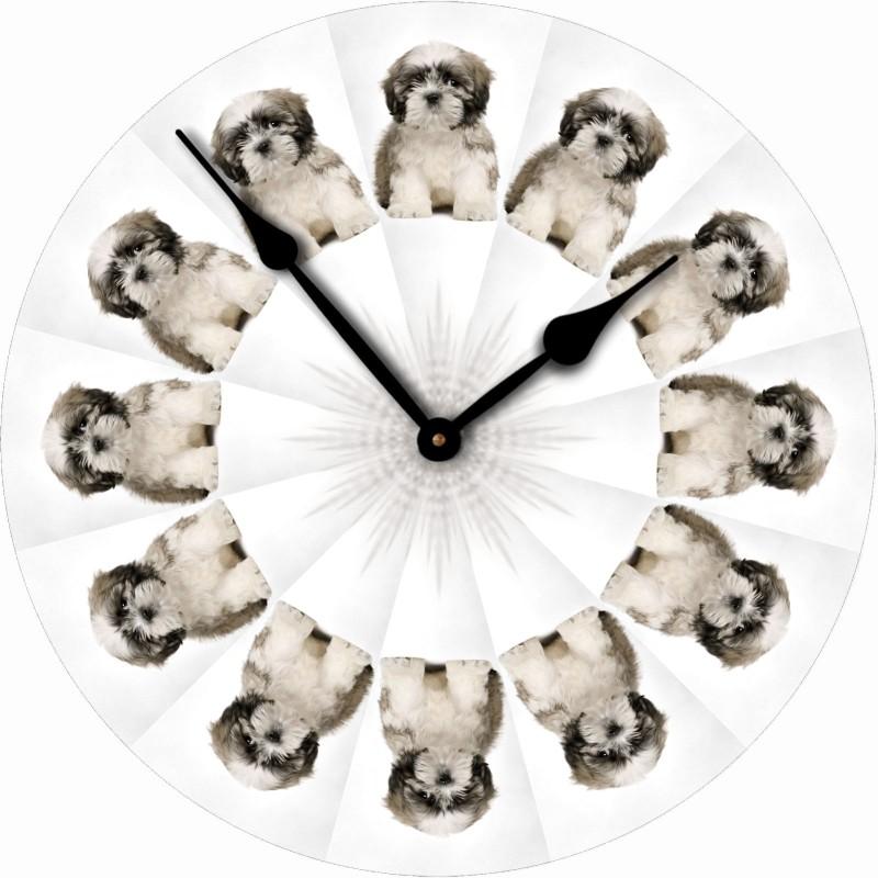 Shih Tzu Wood Clock Made In Usa Puppy Cut