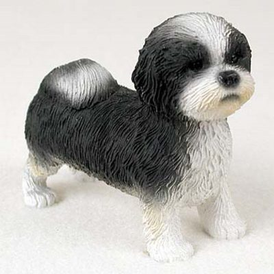 Shih-Tzu-Hand-Painted-Collectible-Dog-Figurine-BlkWht-Puppy-180781549108