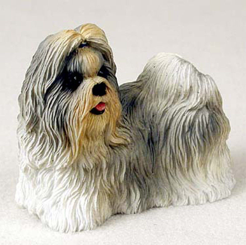 Shih Tzu Figurine Hand Painted Collectible Statue Mixed