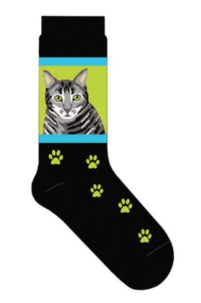 Silver-Gray-Tabby-Cat-Socks-Lightweight-Cotton-Crew-Stretch-Egyptian-Made-400428063674
