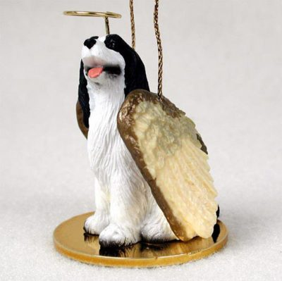 Springer-Spaniel-Dog-Figurine-Angel-Statue-Ornament-Black-400250979543
