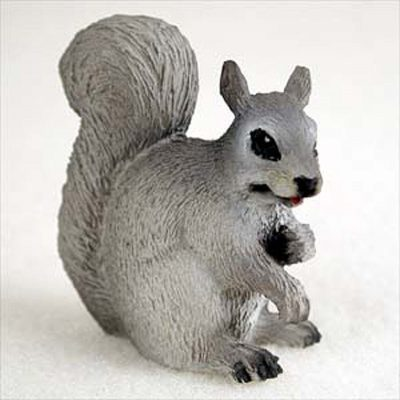 Squirrel-Mini-Resin-Hand-Painted-Wildlife-Animal-Figurine-Gray-400592493878
