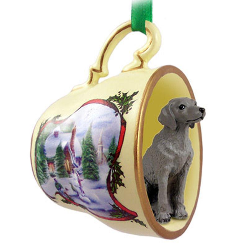- Weimaraner Christmas Teacup Ornament -