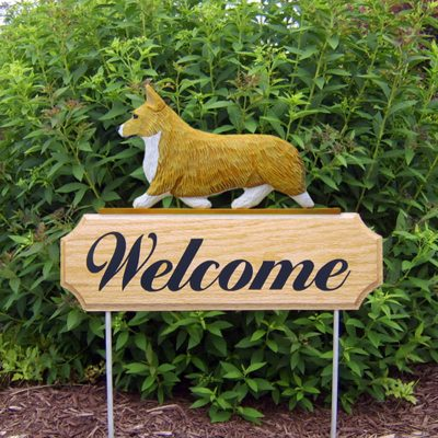 Welsh-Corgi-Pembroke-Dog-Breed-Oak-Wood-Welcome-Outdoor-Yard-Sign-Blonde-181404216233