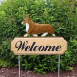 Welsh-Corgi-Pembroke-Dog-Breed-Oak-Wood-Welcome-Outdoor-Yard-Sign-Red-181404216708