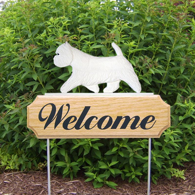 Westie Dog Breed Oak Wood Welcome Outdoor Yard