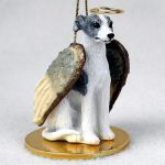 Whippet-Dog-Figurine-Angel-Statue-Hand-Painted-Gray-White-180637637614
