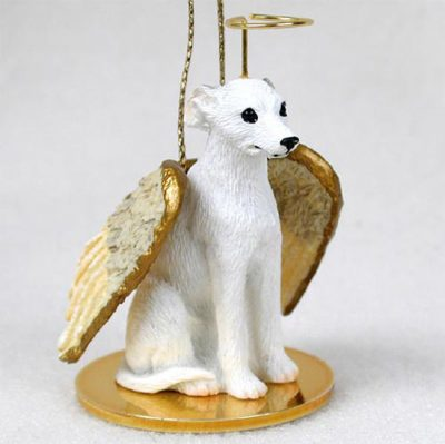 Whippet-Dog-Figurine-Angel-Statue-Hand-Painted-White-180637637652