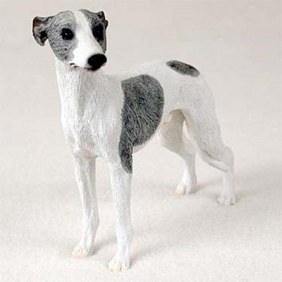 Whippet-Hand-Painted-Collectible-Dog-Figurine-Gray-White-400250931199