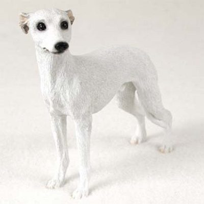 Whippet-Hand-Painted-Collectible-Dog-Figurine-White-400263320417