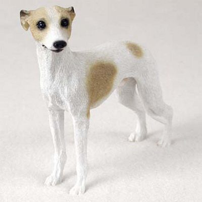 Whippet-Hand-Painted-Dog-Figurine-Statue-Tan-White-400201748584