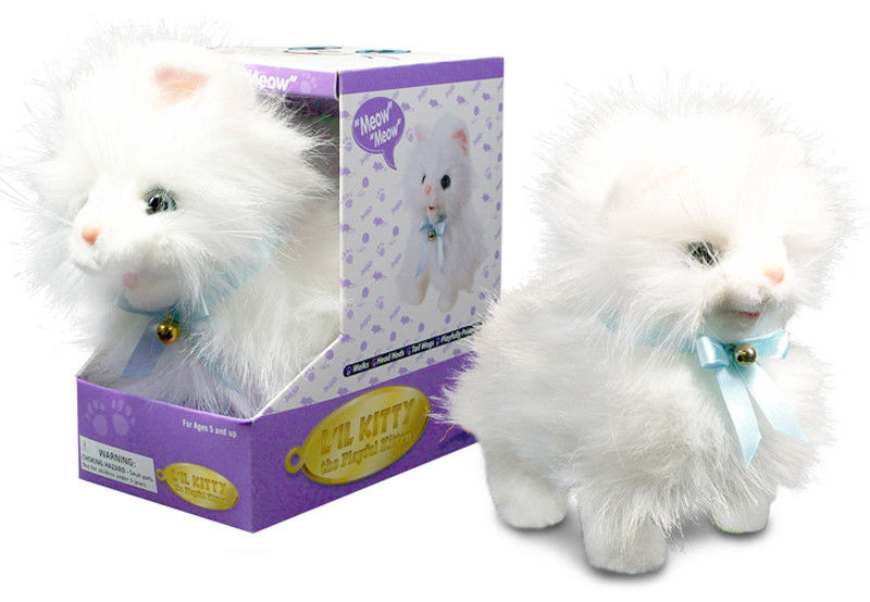 white fluffy cat lifelike stuffed animal meows walks