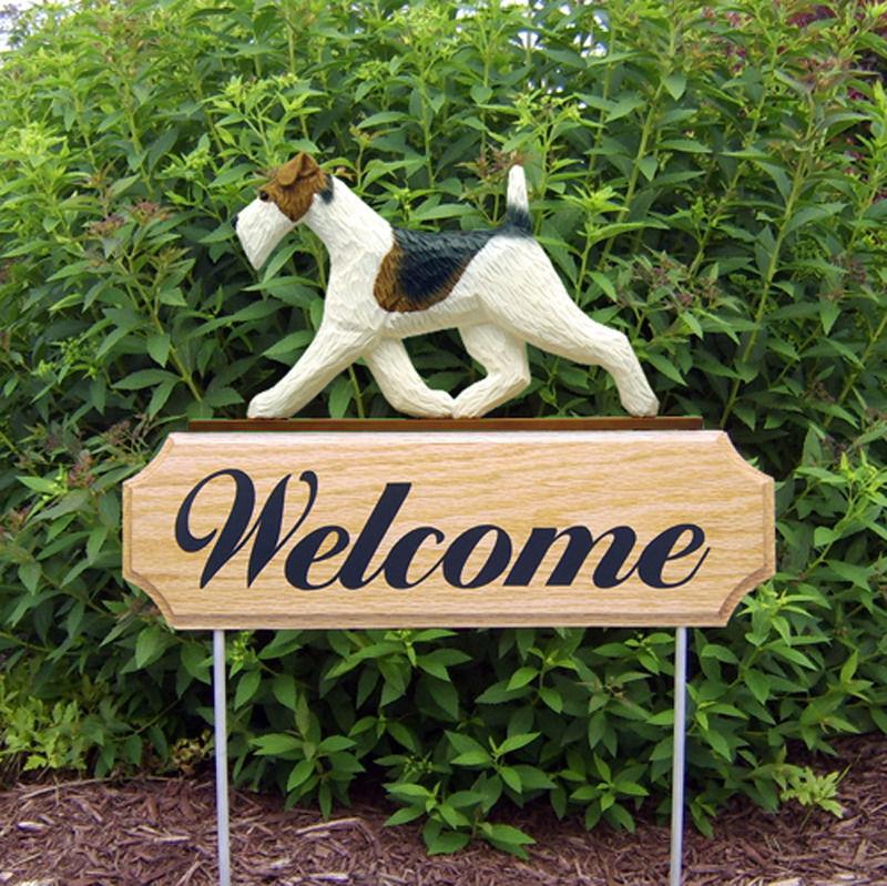 Wire Fox Terrier Dog Breed Oak Wood Welcome Outdoor Yard