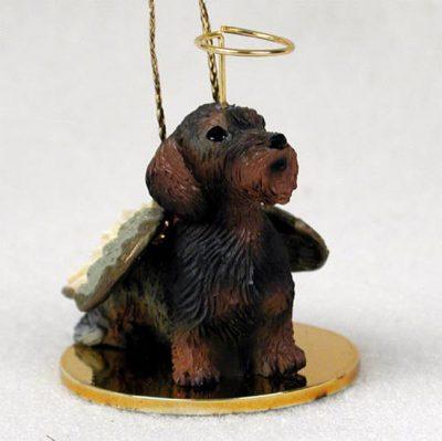 Wirehaired-Dachshund-Dog-Figurine-Angel-Statue-Hand-Painted-400284187892