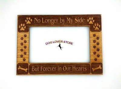 Wood-Dog-Picture-Matte-Frame-No-Longer-By-My-Side-Photo-Magnet-181224078225