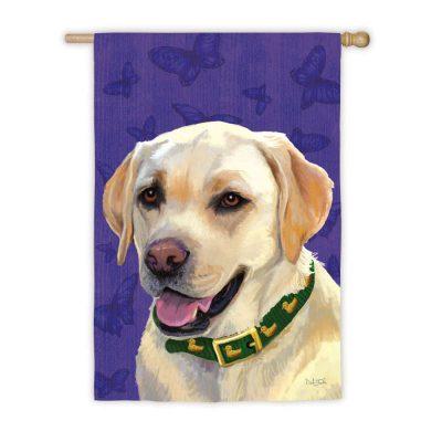Yellow lab labrador dog outdoor house garden flag for Dog house for labrador retriever