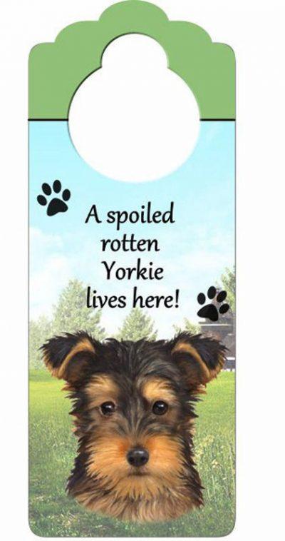 Yorkie-Dog-Door-Knob-Handle-Hanger-Sign-Spoiled-Rotten-1025-x-4-Puppy-Cut-400511449849