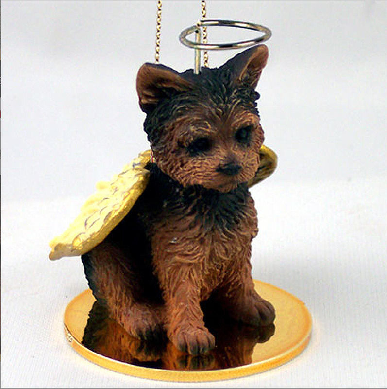- Yorkie Ornament Angel Figurine Hand Painted Puppy Cut -