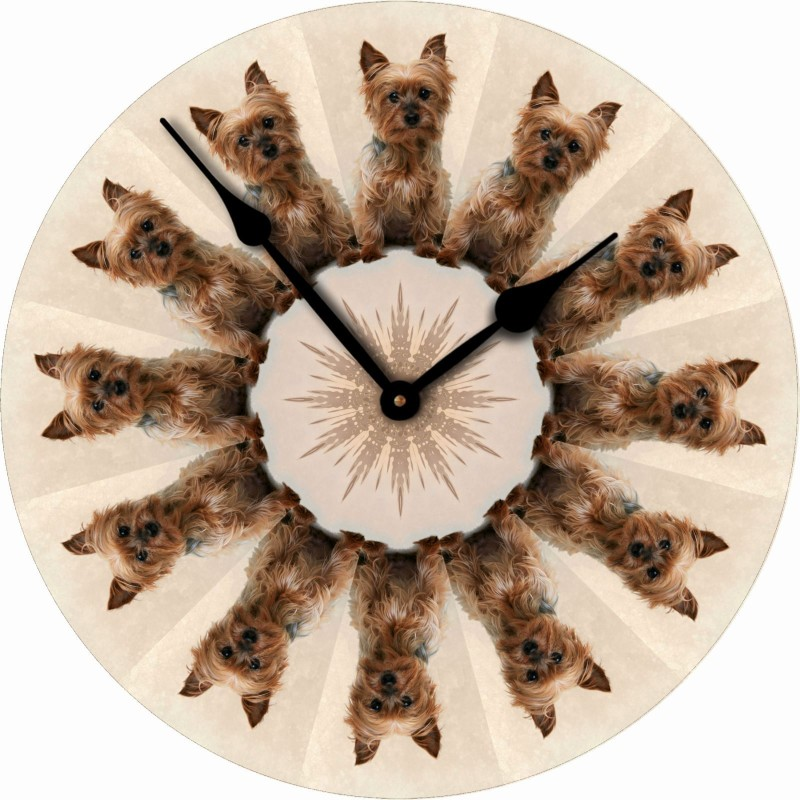 Yorkie Dog Wall Clock 10 Round Wood Made in USA Puppy Cut