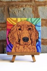 Irish Setter Colorful Portrait Original Artwork on Ceramic Tile 4x4 Inches