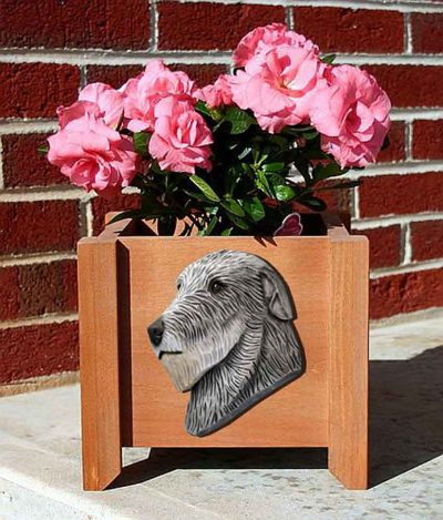Irish Wolfhound Planter Flower Pot Grey 1