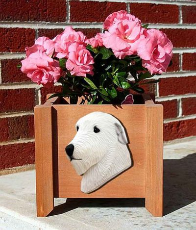 Irish Wolfhound Planter Flower Pot White 1