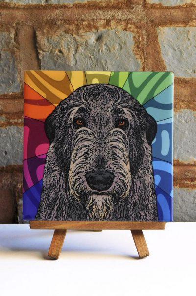 Irish Wolfhound Colorful Portrait Original Artwork on Ceramic Tile 4x4 Inches