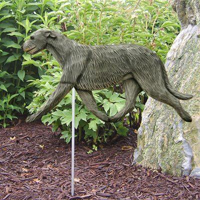 Irish Wolfhound Garden Stake Outdoor Sign Gray
