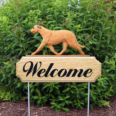 Irish Wolfhound Outdoor Garden Welcome Sign Fawn in Color