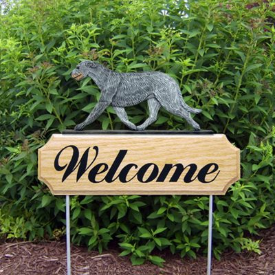 Irish Wolfhound Outdoor Welcome Garden Sign Gray in Color