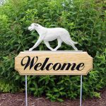 Irish Wolfhound Outdoor Welcome Garden Sign White in Color