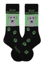 Irish Wolfhound Socks on Green Background