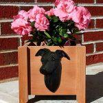 Italian Greyhound Planter Flower Pot Black 1