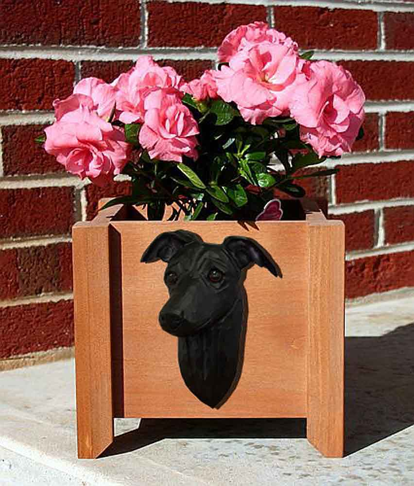 Italian Greyhound Planter Flower Pot Black