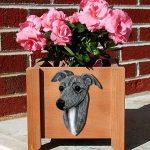 Italian Greyhound Planter Flower Pot Blue 1