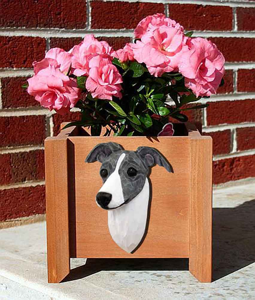 Italian Greyhound Planter Flower Pot Blue White