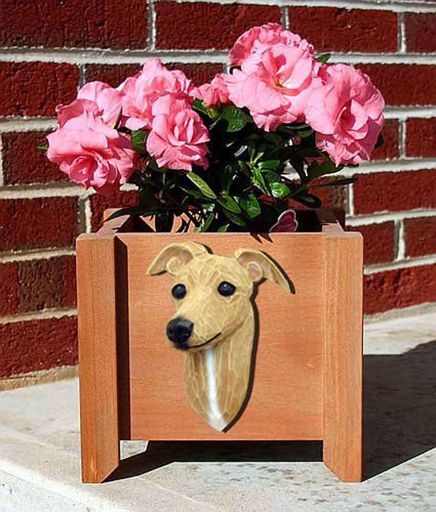 Italian Greyhound Planter Flower Pot Fawn