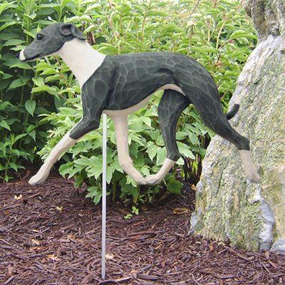 Italian Greyhound Garden Stake Outdoor Sign Blue & White