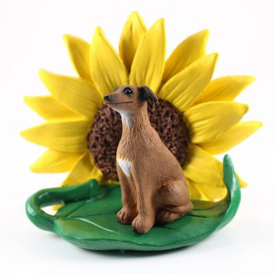 Italian Greyhound Figurine Sitting on a Green Leaf in Front of a Yellow Sunflower