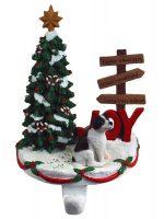 Jack Russell Terrier Stocking Holder Hanger Black Smooth Coat