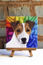 Jack Russell Terrier Brown/White Colorful Portrait Original Artwork on Ceramic Tile 4x4 Inches