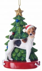 Jack Russell Terrier Christmas Tree Ornament Brown Rough Coat