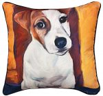 Jack Russell Terrier Artistic Throw Pillow 18X18""