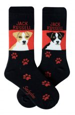 Jack Russell Terrier Brown/White & Black/White Socks - Red and Black in Color