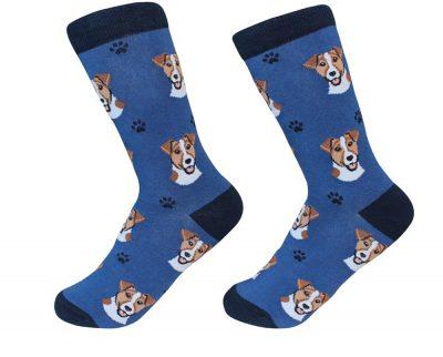Jack Russell Terrier Face Pattern Socks Brown