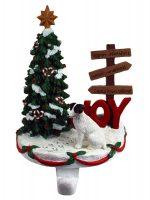 Jack Russell Terrier Stocking Holder Hanger Black Rough Coat