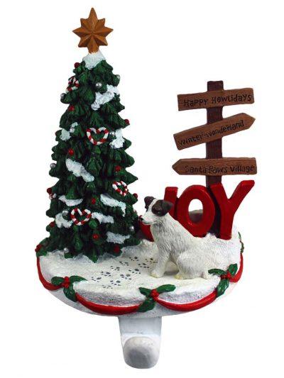 Jack Russell Terrier Stocking Holder Hanger Brown Rough Coat