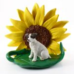 Jack Russell Terrier Brown Figurine Sitting on a Green Leaf in Front of a Yellow Sunflower